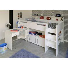 Hoogslaper jillxl met klerenkast en bureau made by hout vast hout - Bed voor kleine jongen ...