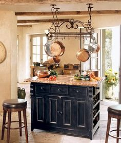 I Really Like This Island Style With The Pot Hanger Italian Kitchens Kitchen