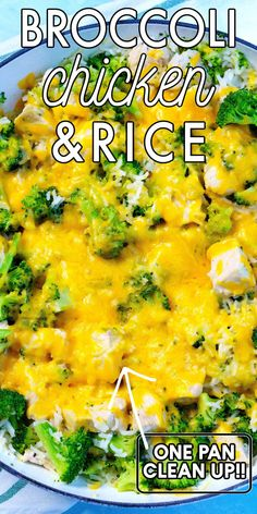 It doesn't get any easier than this One Pan Cheesy Broccoli Chicken Rice recipe. It serves six and costs $11.16 to make! For more easy dinner recipes follow Easy Budget Recipes!