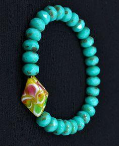 Turquoise Czech bracelet w/one-of-a-kind bead from Haymarket, Scotland
