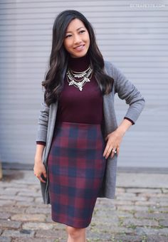 Fall business casual outfit for work // sweater + pencil skirt + cardigan + statement necklace