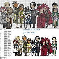 Black Butler free cross stitch pattern 300x146 50 colors