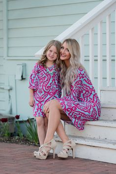 Mommy and Me Damask Aqua Fuchsia Tunic Dress - Ryleigh Rue Clothing by Modern Vintage Boutique
