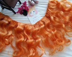 "mohair weft wavy ""Golden orange"", doll hair, 157""-177"" (4-5 m), 100 g"