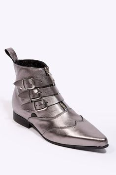 Underground Shoes Pewter Multi Buckle Boots (Putting this on my wishlist because SO MUCH WANT.)