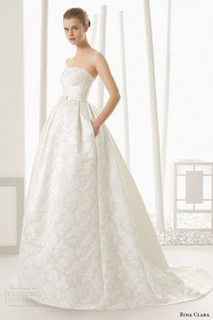 rosa clara 2016 bridal collection strapless straigh across white wedding ball gown dress with pockets detalle