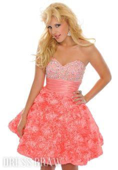 Fabulous A-Line Sweetheart Mini/Short-Length Flowers Prom/Homecoming Dress: Dressbraw.com