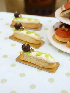 Pumpkin Patch Eclair - 12th Scale French Miniature Food. $10.00, via Etsy.