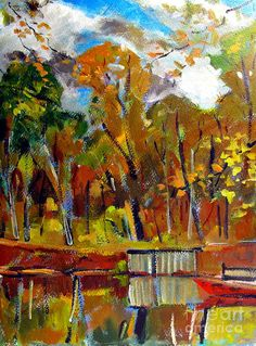Plein Air Print featuring the painting Red Canoe On The Lake by Charlie Spear