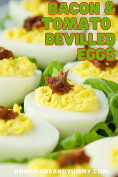 The classic devllled eggs with the flavour of bacon and tomato. Always a party hit. Bacon and eggs are great any time of day. #devilledeggs #classicdevilledeggs #hardboiledeggs #partyfood Beef Appetizers, Healthy Appetizers, Appetizer Recipes, Snack Recipes, Party Recipes, Party Snacks, Healthy Recipes, Top Recipes, Side Dish Recipes