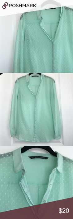 Zara mint sheer button down blouse Get it while it's here! Mint Zara Trafaluc collection - sheer long sleeve button down. Size Small. Excellent condition. No stains or tears. Love this shirt!! No trades. No lowball offers. All offers need to go through offer button and not in comments. Quick shipping 📦📪 5 ⭐️ Seller!! Zara Tops Button Down Shirts