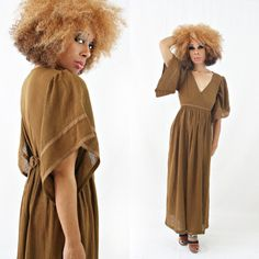 vintage 70s brown gauze BOHO festival BELL sleeve MAXI dress size M by PasseNouveauVintage, $36.00
