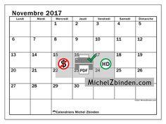 Calendrier à imprimer novembre 2017 - Tiberius - France