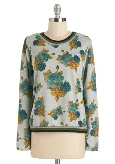 Bloomin' Beautiful Sweatshirt. Freshen up your casual wardrobe with this floral sweatshirt! #grey #modcloth