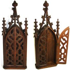 "Rare Antique Gothic Style Carved Wood 28"" Niche or Cabinet, Religious Relic or Sculpture Display Piece"