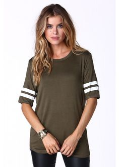 Two For The Road Jersey Top in Olive   Necessary Clothing