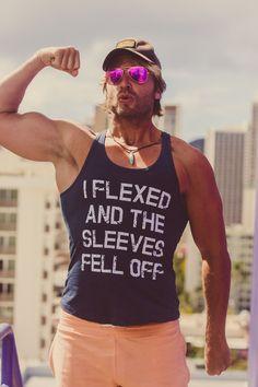 We had every intention of wearing a t-shirt but ended up with a tank top, and all it took was a little bit of flexing! Impress everyone at the gym with this hilarious workout and fitness tank for men. Shop now at crazydogtshirts.com Funny Workout Shirts, Fitness Shirts, Gym Shirts, Workout Humor, Cool T Shirts, Funny Tank Tops, Yoga Tank Tops, Workout Tank Tops, Funny Fitness