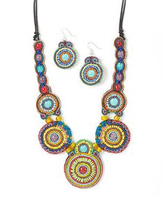Love this Yellow & Turquoise Beaded Disc Necklace & Drop Earrings on #zulily! #zulilyfinds