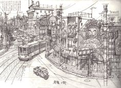 as-warm-as-choco:  Tekkon Kinkreet (鉄コン筋クリート) Background Art by Shinji Kimura   Art Director : Blue Exorcist (movie), Tekkonkinkreet, Steamb...