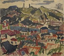 M.T. Woollaston, Wellington, 1937. On show at Auckland Art Gallery  'That picture was a piece of almost spontaneous painting, and is not so much a likeness of Wellington as a symbol of my personal reaction to it. I must say I don't admire Wellington's domestic architecture, and as I looked over the scene I felt that I must express the actual chaos of Wellington's buildings by an almost abstract symbol of chaos.' - TW, Art NZ, 1937