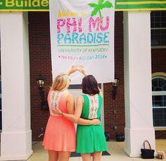 Welcome to Phi Mu Paradise-themed Bid Day Bid Day Themes, Go Greek, Phi Mu, Luau, Fall 2016, Banners, Welcome, Paradise, Banner