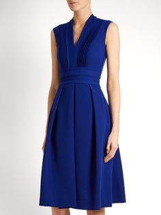 Preen By Thornton Bregazzi Elias stretch-cady dress Pretty Dresses, Dresses For Work, Summer Dresses, Blue Fashion, Fashion Outfits, Royal Dresses, Pleated Dresses, Sleeveless Dresses, Wrap Dress