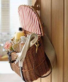 Make a guest goodie bag with a fisherman's basket and fill with toiletries and toothbrushes