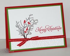 Stamps: Serene Silhouettes, More Merry messages Paper: Real Red, Gumball Greenm Whisper White Ink: Early Espresso & Real Red markers, Real Red Accessories: Real red ribbon, Dazzling Details, Petals-a-Plenty embossing folder