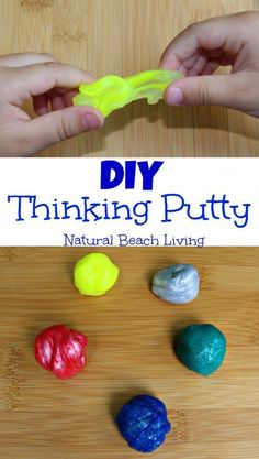 How to Make Your Own Thinking Putty Mixed By Me Thinking Putty is perfect for - 22 Beautiful Diy Silly Putty Inspiration Sensory Activities, Sensory Play, Activities For Kids, Crafts For Kids, Daycare Crafts, Fun Crafts, Homemade Putty, Homemade Playdough, Homemade Fidget Toys