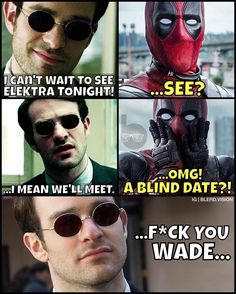 I'm not sure why I just find Daredevil blind jokes endlessly entertaining. Murdock is the perfect straight man. Polished up an old meme in anticipation of Daredevil Season 2. --- Also be sure to tune in to this week's episode of Blerd Vision to hear our thoughts on the controversial new ghostbusters trailer the reveal of Spider-man and my growing frustration with Legends of Tomorrow. Finally we wrap up the episode with our review of DC's Kingdom Come! Leave a review on our iTunes account to…