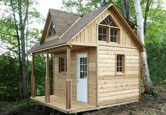 This compact 12 x 12 cabin has an 8 x 12 foot enclosed space. The 10 / 12 roof pitch and optional extra height give plenty of room in the loft for sleeping. Ventilation is provided by a double opening triangular window. The dormer on the front and the shed dormer on the back further increase the room in the loft!