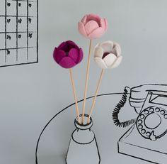 Felt Peony Buds Flower Arrangement - Wet felted artificial flower arrangement…