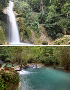 Clear and beautifully blue-green, the waters of the Tat Kuang Si Waterfall in Luang Prabang...I will go here
