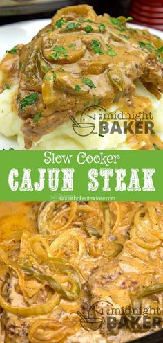 Slow cooker Cajun steak is one of those comfort food meals the whole family will love. Long slow cooking really brings out the flavor. Cajun Steak Recipe, Crockpot Steak Recipes, Cajun Recipes, Entree Recipes, Meat Recipes, Slow Cooker Recipes, Cooking Recipes, Steak In The Crockpot, Savoury Recipes