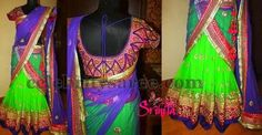 parrot green saree with black and golden border - Google Search