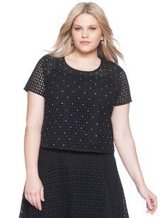 Studio Eyelet Crop Top | Women's Plus Size Tops | ELOQUII