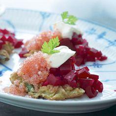 Rezept von Trine Hahnemann: Kartoffelküchlein und Rote-Bete-Salat
