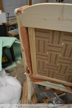 DIY wingback dining chair - how to upholster the frame - 56