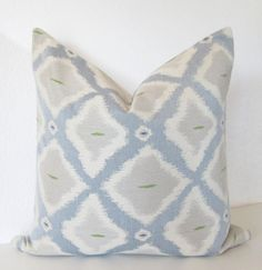 Decorative pillow cover - Ikat- 16x16 - Blue - Off White - Light Gray - Green - Ikat Pillow - Ikat Throw Pillow