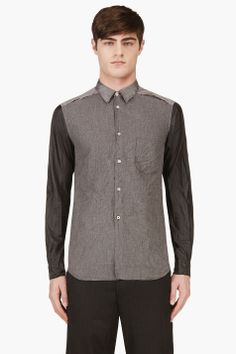 COMME DES GARÇONS HOMME PLUS Grey Contrast-sleeve Ripped shirt