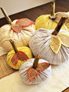 bijou lovely: upcycled sweater pumpkins.
