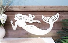 New Large Mermaid Rustic Metal Art Sculpture Sign Nautical Wall Beach Home Decor | eBay