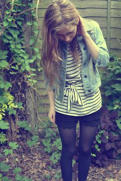 Shorts, stripes and a denim jacket