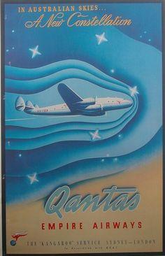 Vintage Qantas Empire Airways Travel Poster: The Constellation Vintage Advertisements, Vintage Ads, Vintage Airline, Travel Ads, Air Travel, Posters Australia, Australian Vintage, Airline Logo, Poster Ads
