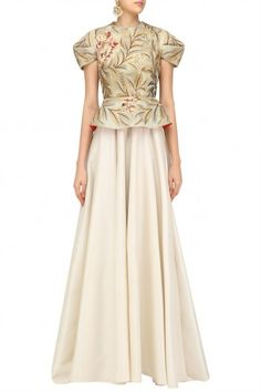 Samant Chauhan Off White and Gold Embroidered Peplum Gown #happyshopping#shopnow#ppus