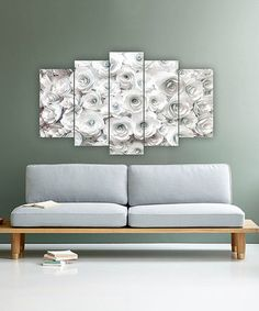 Carsberg Home White Allover Roses Five-Panel Wall Art Chalk Pictures, 5 Panel Wall Art, Sofa, Couch, White Decor, First Home, Grey And White, Gray, My Room