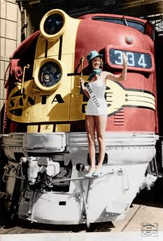 "ATSF #334 (EMD F7) in a publicity photo for Santa Fe's ""Texas Chief"" in 1950. Photo colorization by Patty Allison."