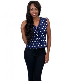 Dames? Meet Dotty! A fabulously versatile top in a navy and white polka dot throughout. Crafted in a lightweight quality...Price - $52.00-ycVCqVIS