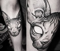 Cat dotwork tattoo by Kamil Czapiga