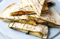 Sooo delicious!! Mango, Brie, Avocado Quesadilla...with jalapeños... yum yum yum! (minus the jalapeños)